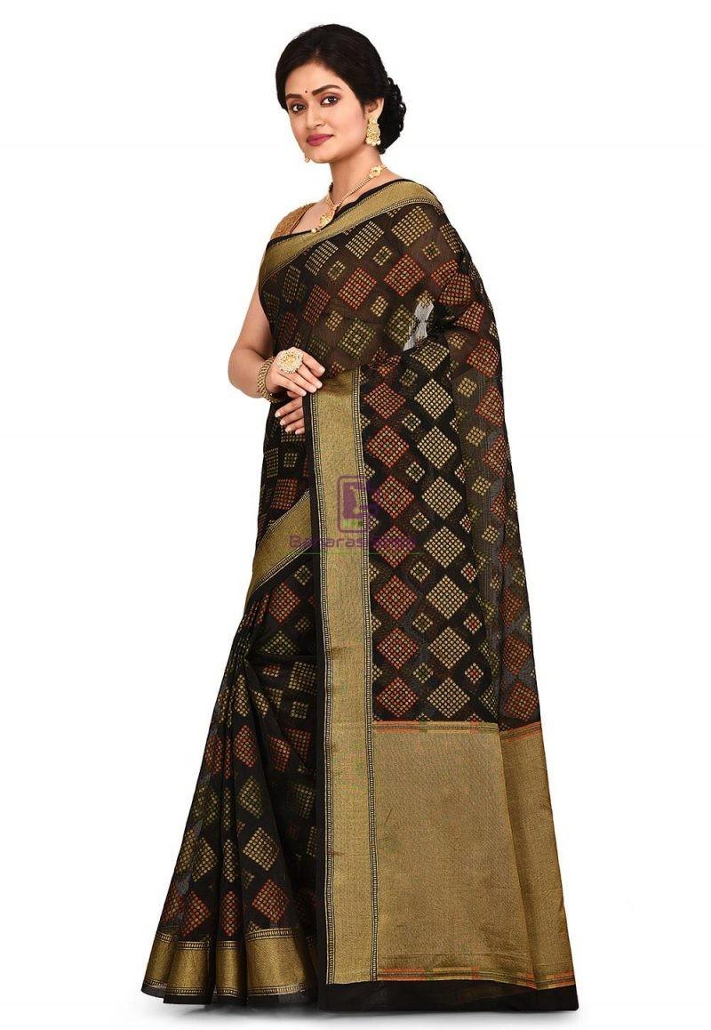 Woven Banarasi Cotton Silk Saree in Black 4