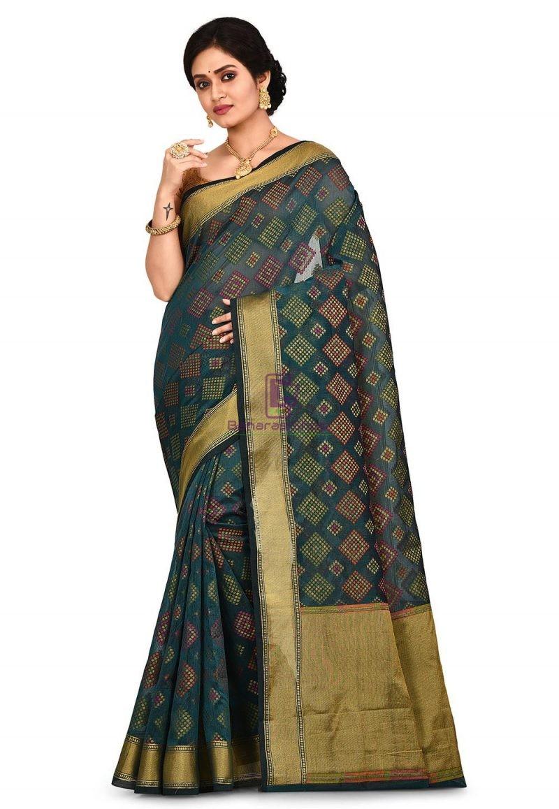 Woven Banarasi Cotton Silk Saree in Dark Teal green 1