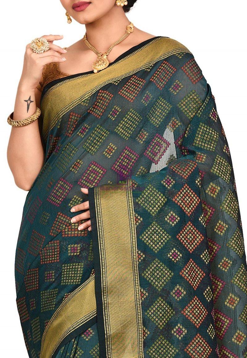 Woven Banarasi Cotton Silk Saree in Dark Teal green 2