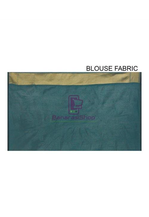 Woven Banarasi Cotton Silk Saree in Dark Teal green 6