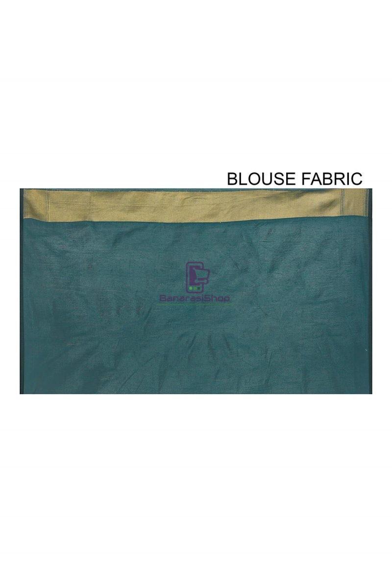 Woven Banarasi Cotton Silk Saree in Dark Teal green 3