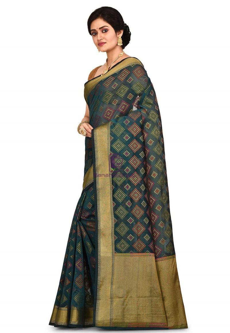 Woven Banarasi Cotton Silk Saree in Dark Teal green 4