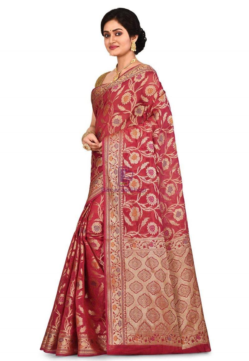 Woven Banarasi Cotton Silk Saree in Red 4