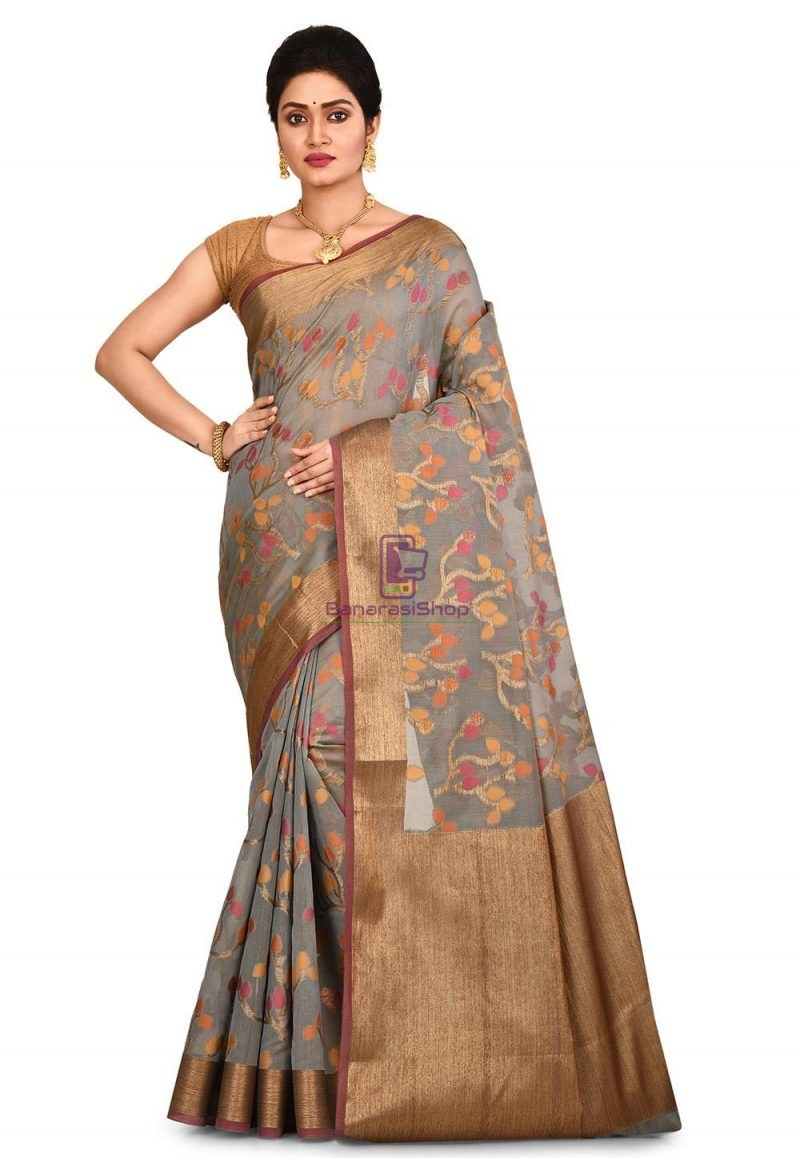 Woven Banarasi Cotton Silk Saree in Grey 1