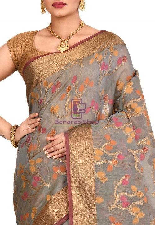 Woven Banarasi Cotton Silk Saree in Grey 5