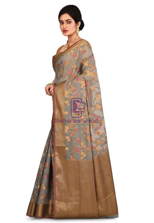 Woven Banarasi Cotton Silk Saree in Grey 7