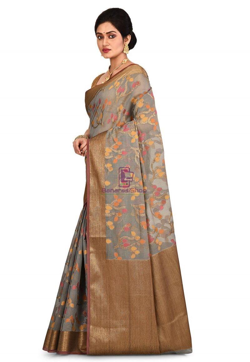 Woven Banarasi Cotton Silk Saree in Grey 4