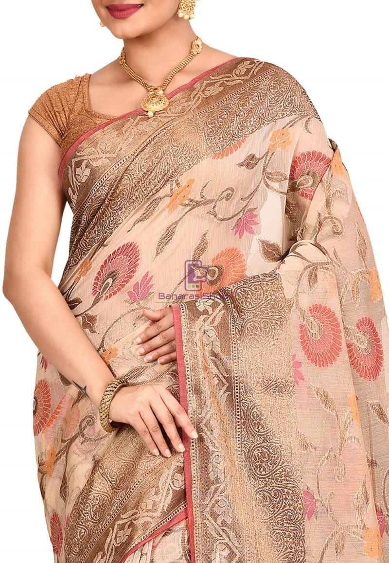 Woven Banarasi Cotton Silk Saree in Light Beige 2