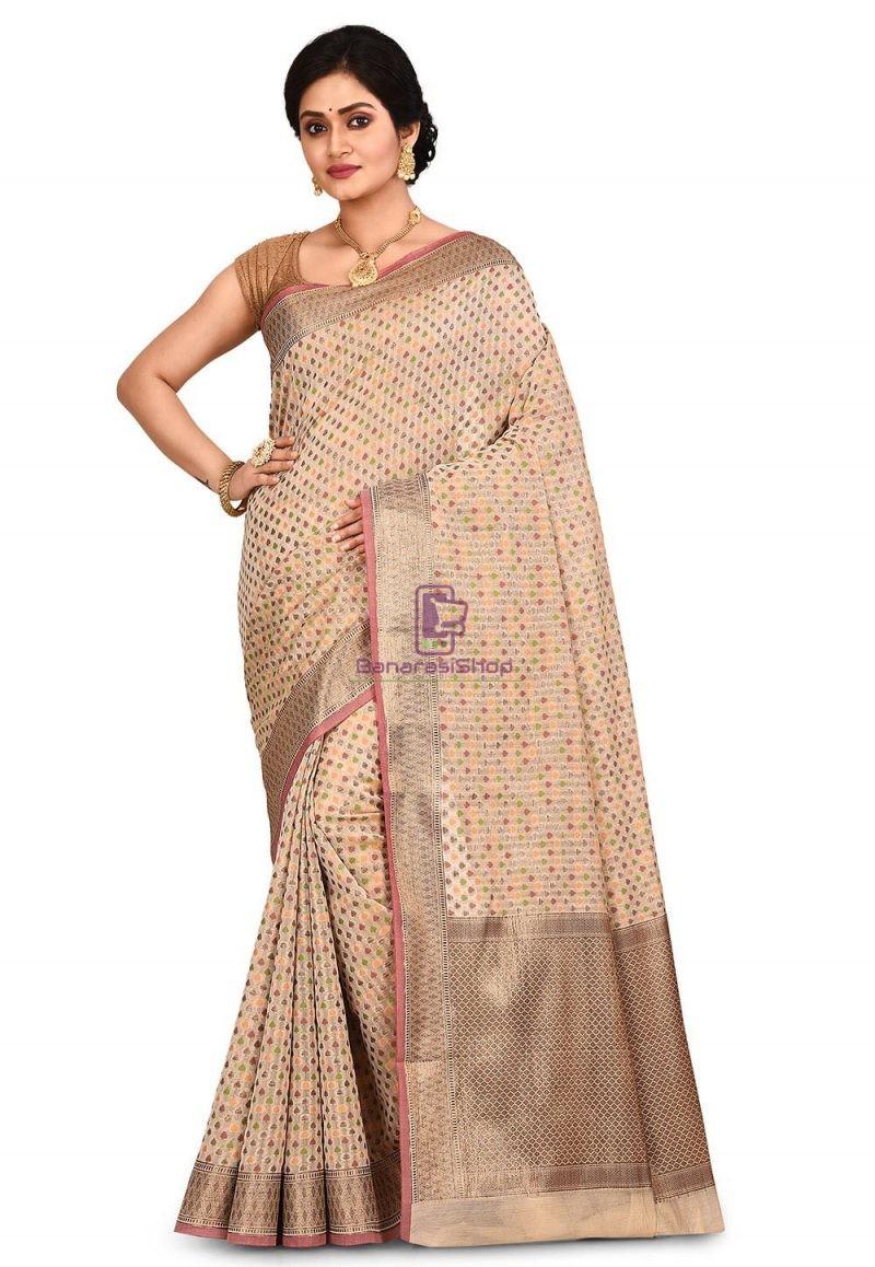 Woven Banarasi Cotton Silk Saree in Light Beige 1