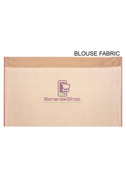 Woven Banarasi Cotton Silk Saree in Light Beige 6