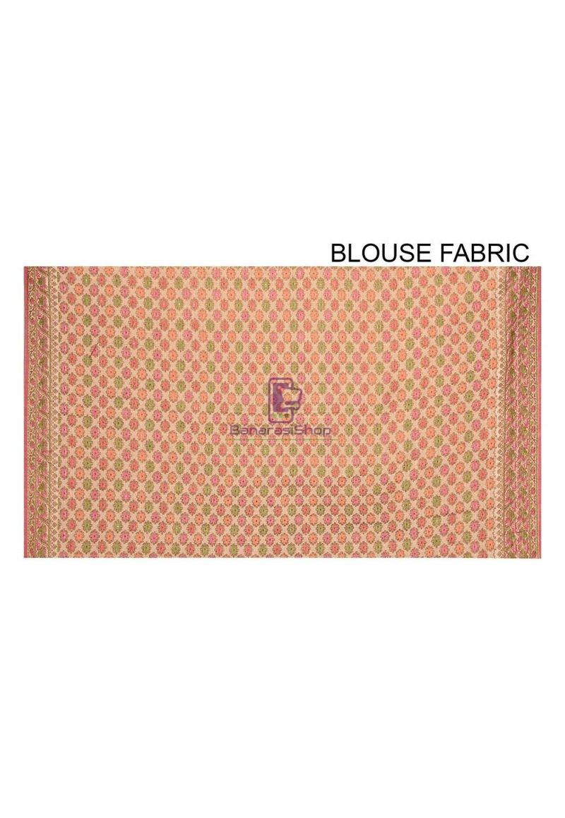 Woven Banarasi Cotton Silk Saree in Light Beige 3