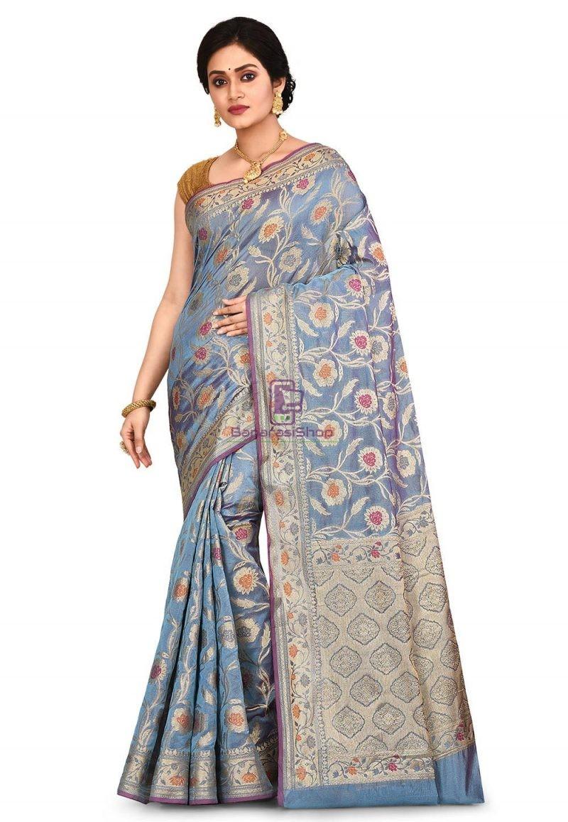 Woven Banarasi Cotton Silk Saree in Light Blue 1
