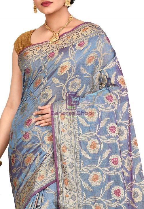Woven Banarasi Cotton Silk Saree in Light Blue 5