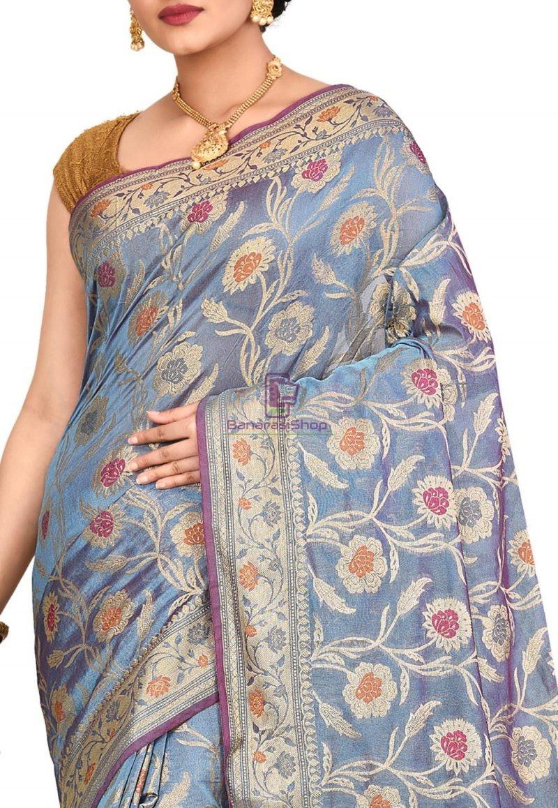 Woven Banarasi Cotton Silk Saree in Light Blue 2