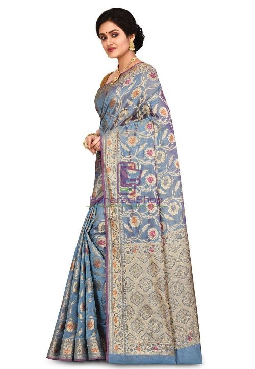 Woven Banarasi Cotton Silk Saree in Light Blue 7