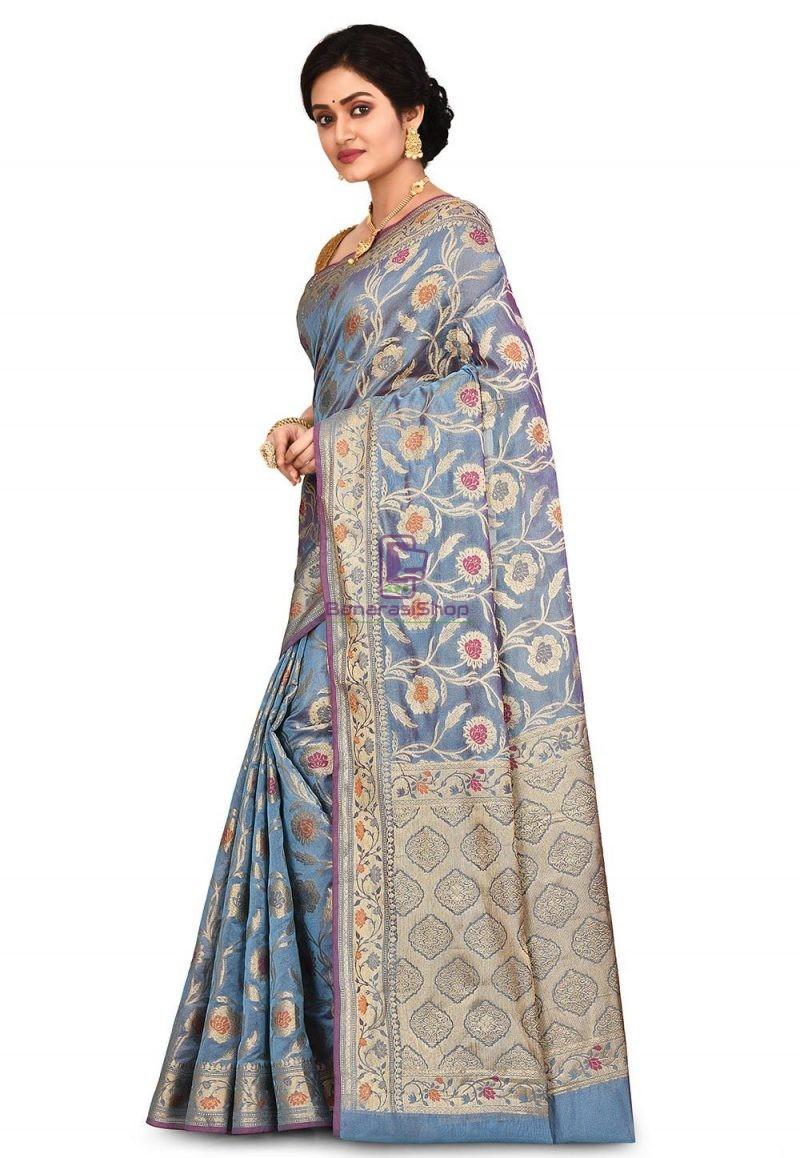Woven Banarasi Cotton Silk Saree in Light Blue 4