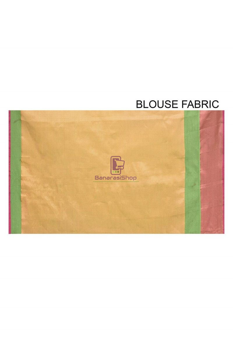 Woven Banarasi Cotton Silk Saree in Light Green 3