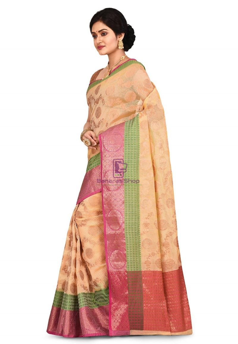 Banarasi Saree in Light Yellow 4