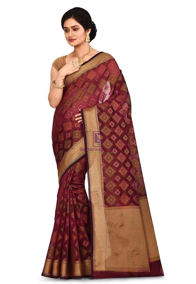 Woven Banarasi Cotton Silk Saree in Maroon 1