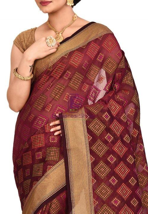 Woven Banarasi Cotton Silk Saree in Maroon 5