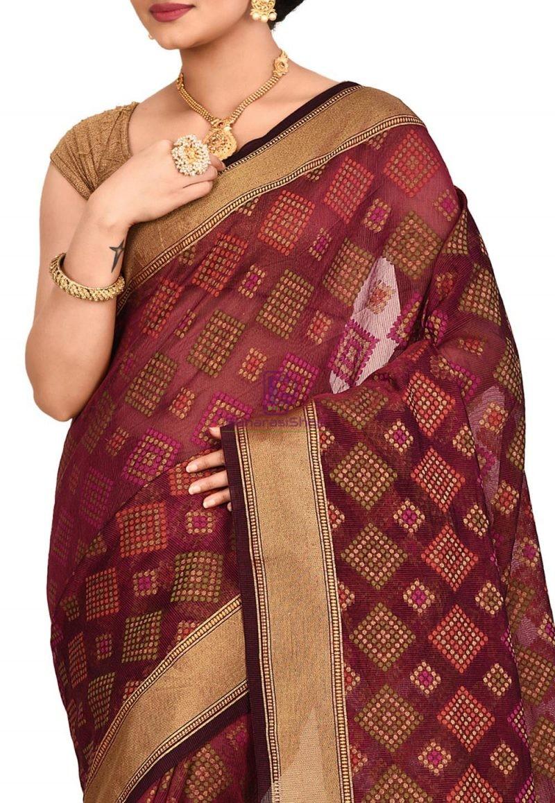 Woven Banarasi Cotton Silk Saree in Maroon 2