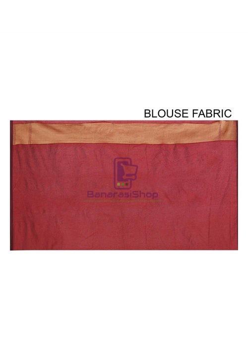 Woven Banarasi Cotton Silk Saree in Maroon 6