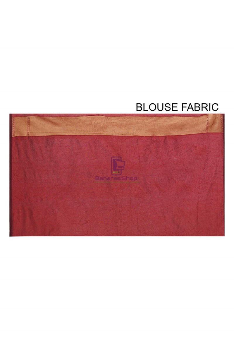 Woven Banarasi Cotton Silk Saree in Maroon 3