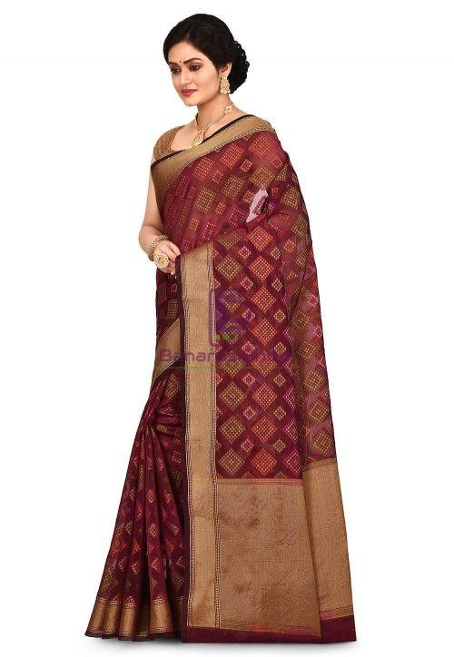 Woven Banarasi Cotton Silk Saree in Maroon 7
