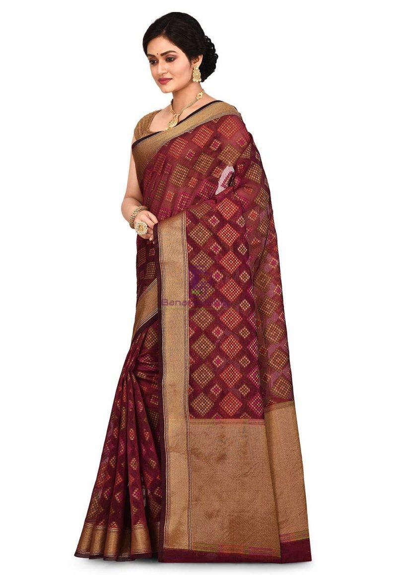 Woven Banarasi Cotton Silk Saree in Maroon 4