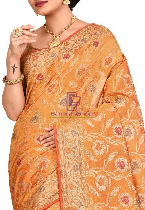 Woven Banarasi Cotton Silk Sare in Mustard 5