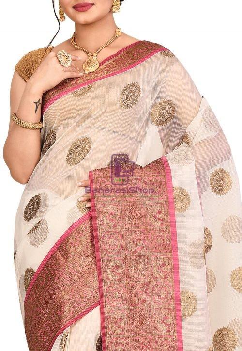 Woven Banarasi Cotton Silk Saree in Off White 5
