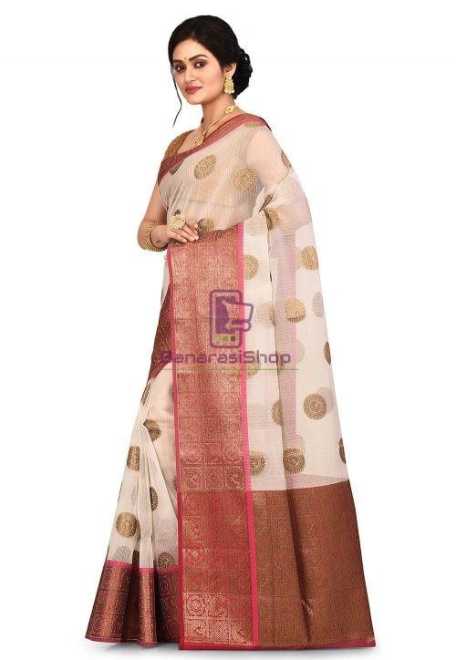 Woven Banarasi Cotton Silk Saree in Off White 7