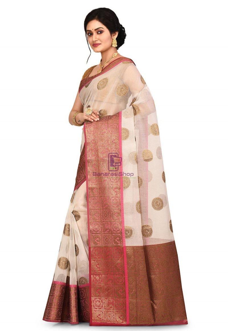 Woven Banarasi Cotton Silk Saree in Off White 4