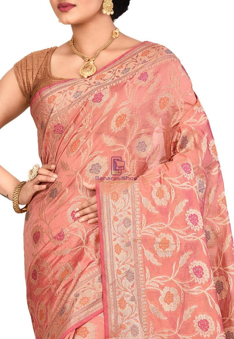 Woven Banarasi Cotton Silk Saree in Old Rose 2