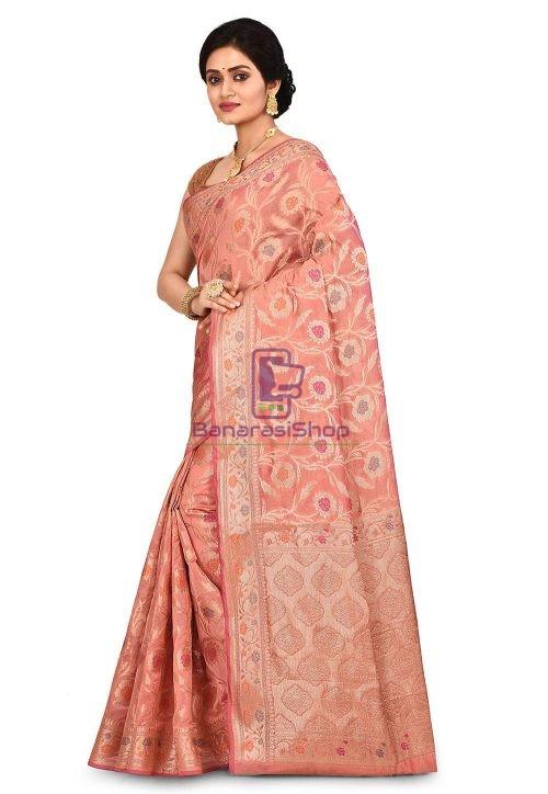 Woven Banarasi Cotton Silk Saree in Old Rose 7