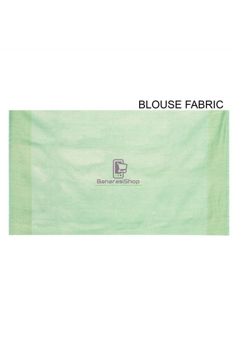 Woven Banarasi Cotton Silk Saree in Pastel Green 3