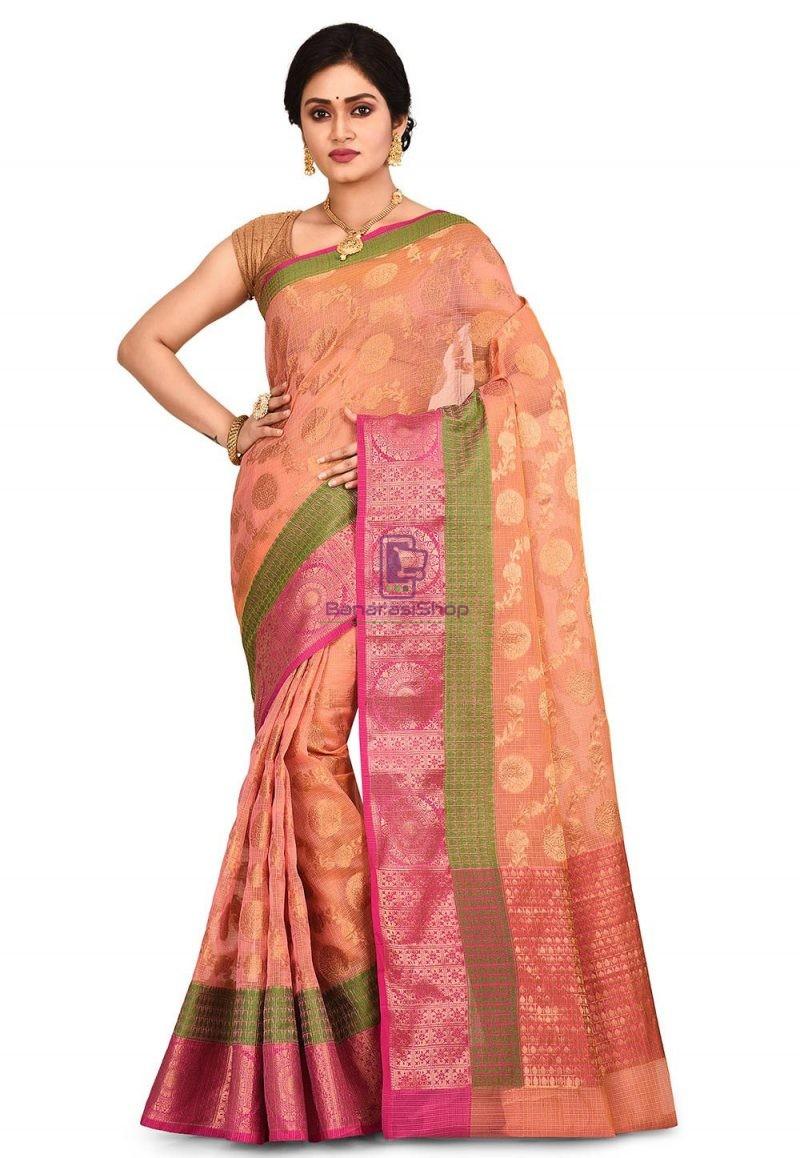 Banarasi Saree in Peach and Mustard Dual Tone 1