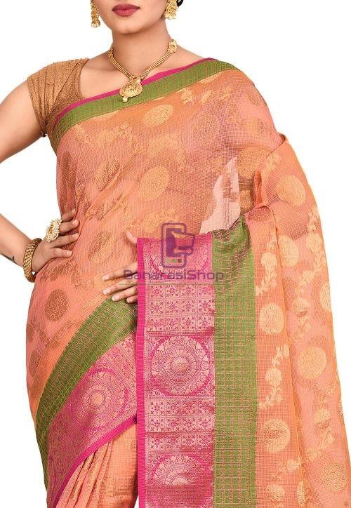 Banarasi Saree in Peach and Mustard Dual Tone 5