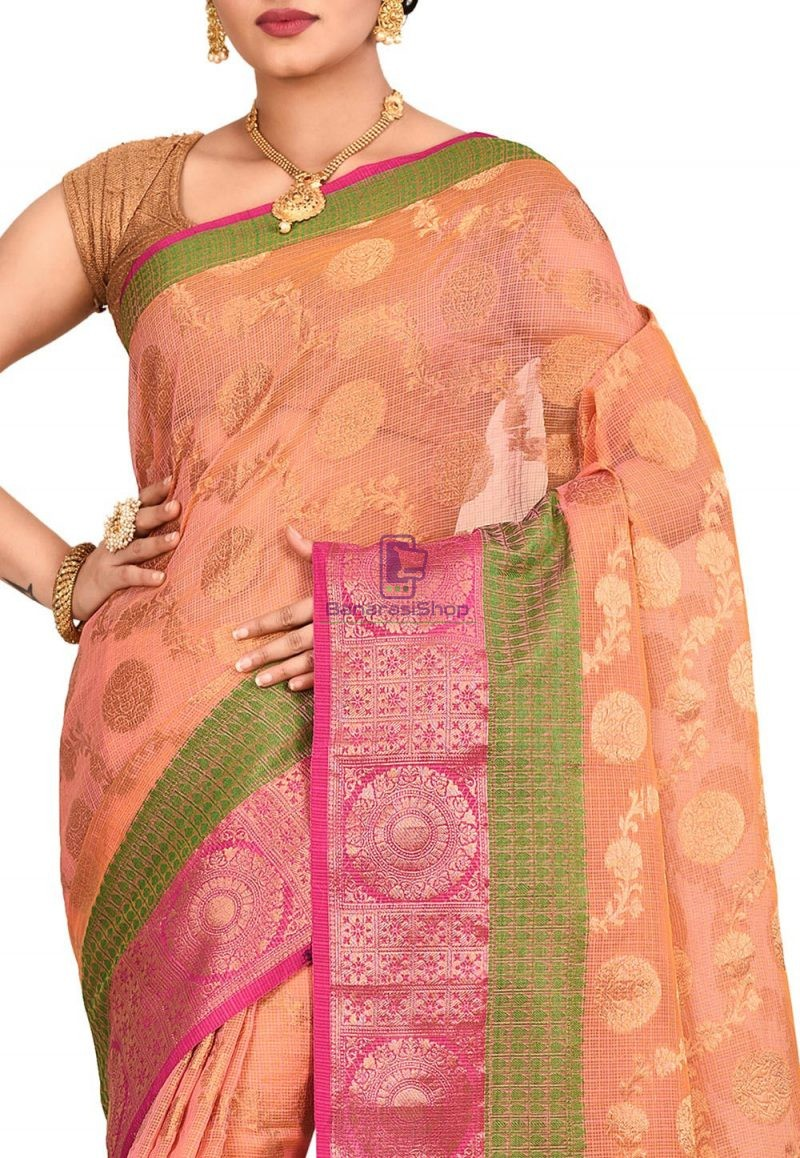 Banarasi Saree in Peach and Mustard Dual Tone 2