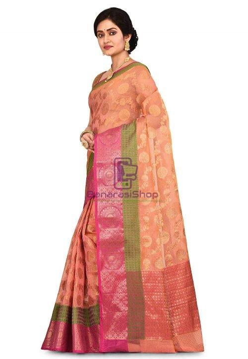 Banarasi Saree in Peach and Mustard Dual Tone 7