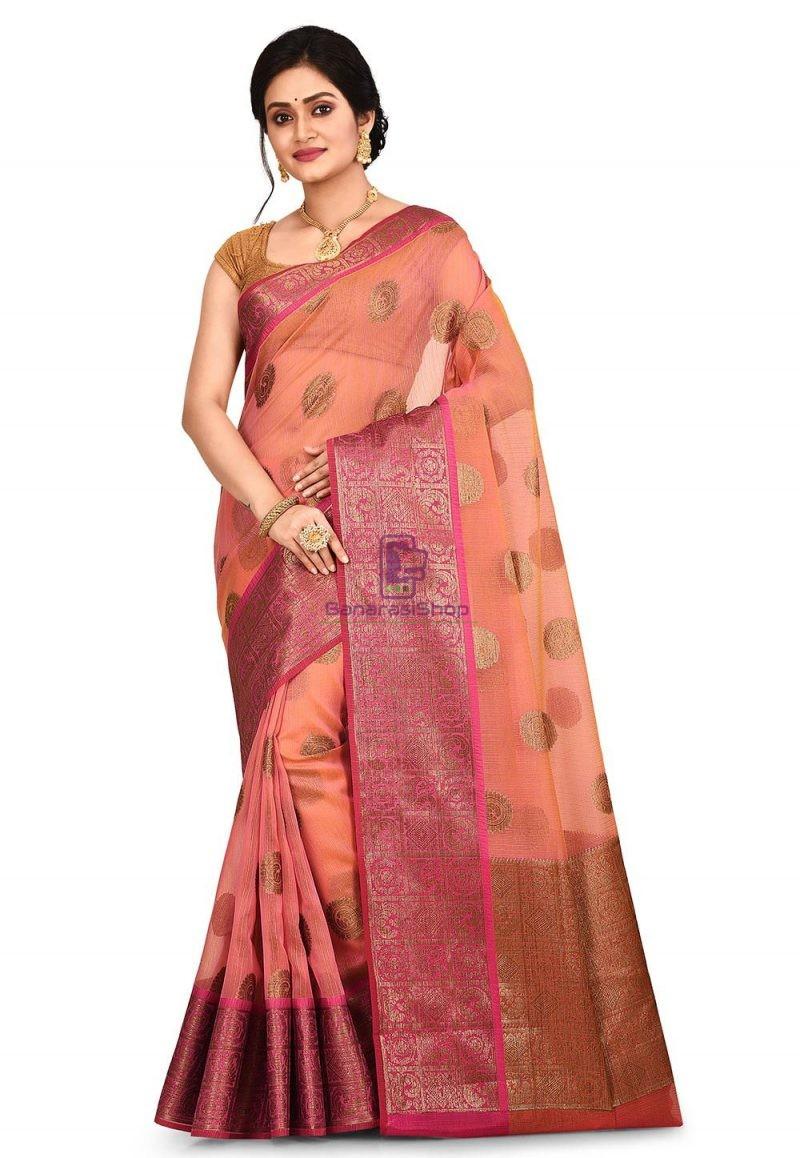Woven Banarasi Cotton Silk Saree in Pink and Mustard Dual Tone 1