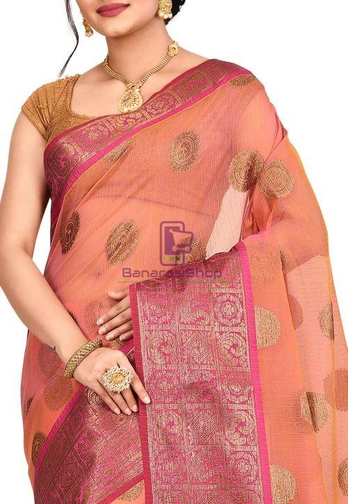 Woven Banarasi Cotton Silk Saree in Pink and Mustard Dual Tone 5