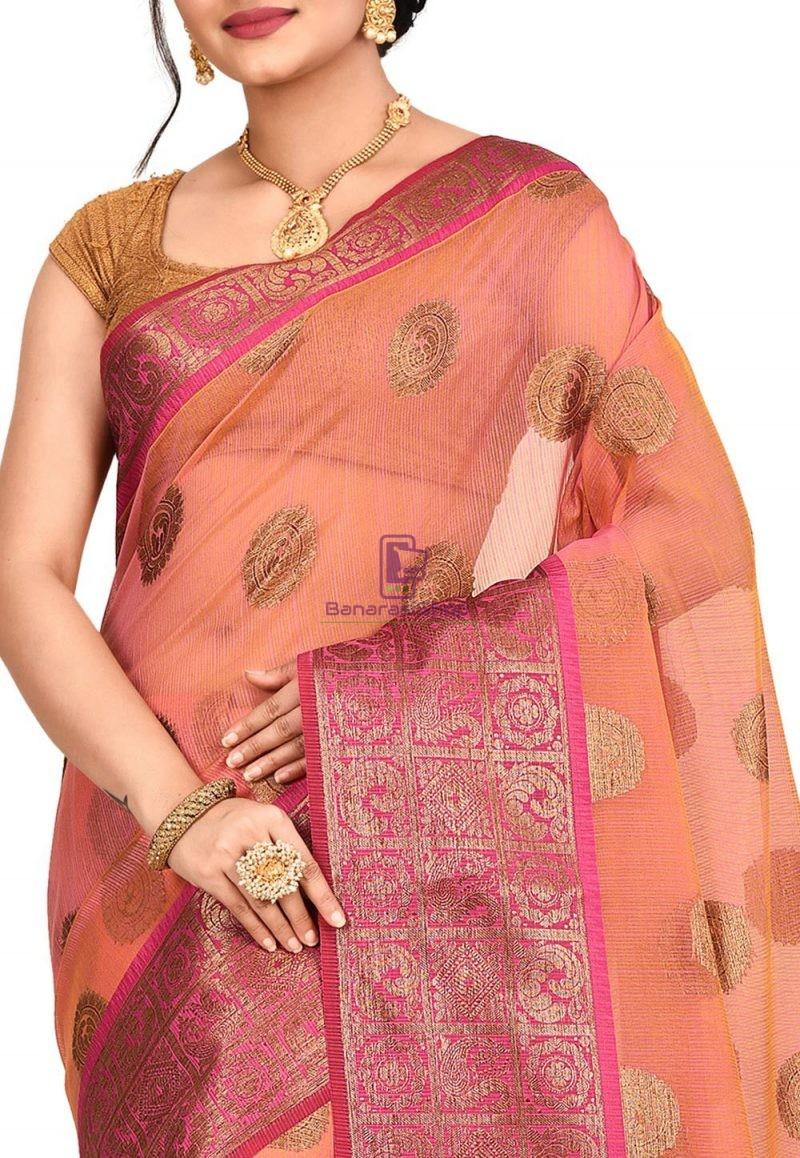Woven Banarasi Cotton Silk Saree in Pink and Mustard Dual Tone 2
