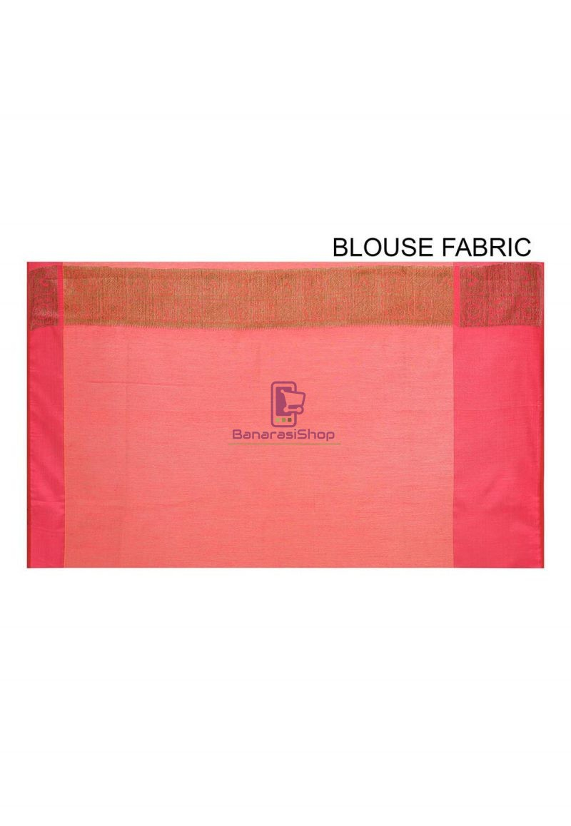 Woven Banarasi Cotton Silk Saree in Pink and Mustard Dual Tone 3