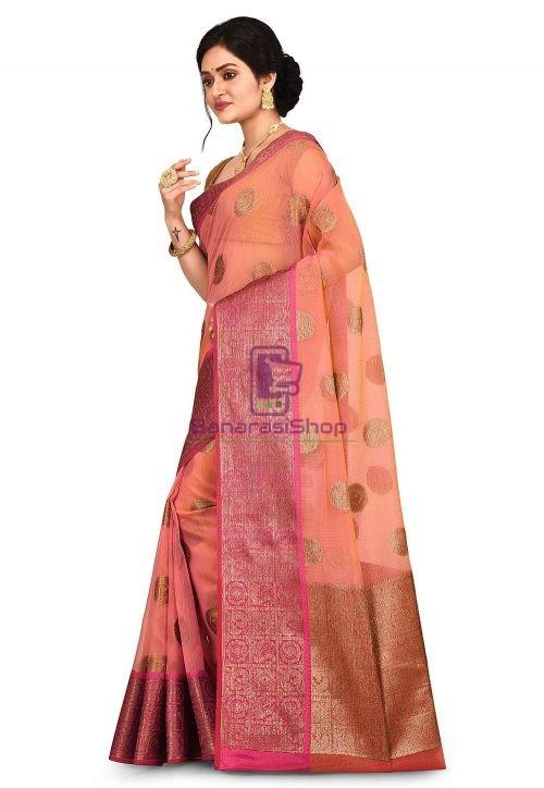 Woven Banarasi Cotton Silk Saree in Pink and Mustard Dual Tone 7