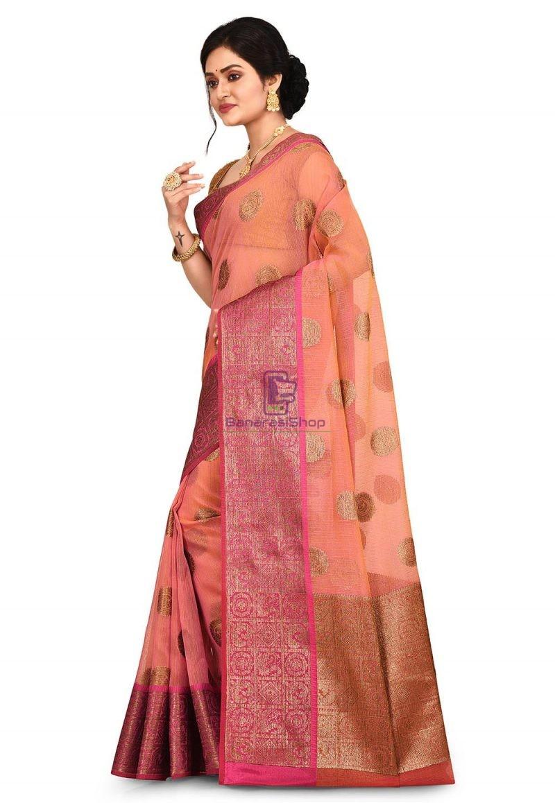 Woven Banarasi Cotton Silk Saree in Pink and Mustard Dual Tone 4