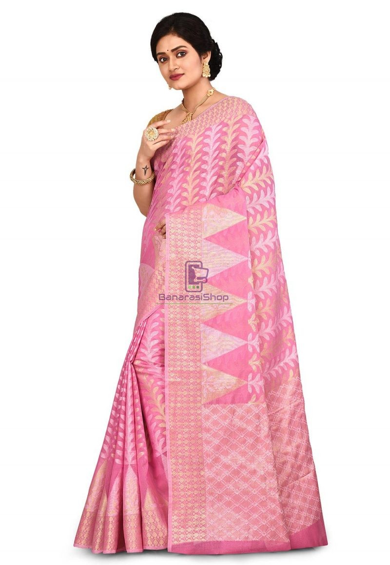 Woven Banarasi Cotton Silk Saree in Pink 4