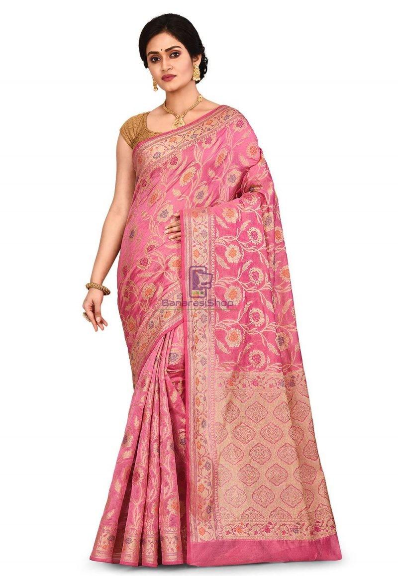Woven Banarasi Cotton Silk Saree in Pink 1