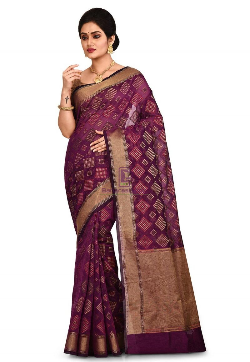 Woven Banarasi Cotton Silk Saree in Purple 1