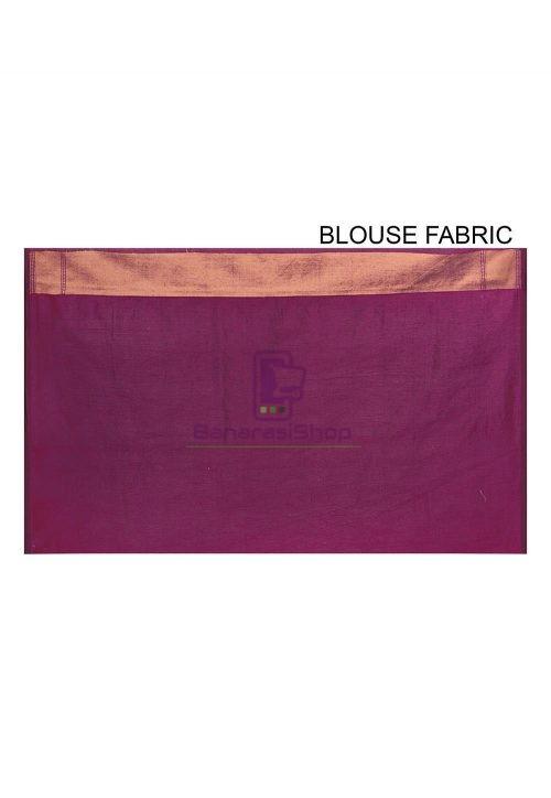 Woven Banarasi Cotton Silk Saree in Purple 6